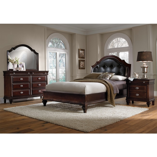 Manhattan 6-Piece Upholstered Bedroom Set with Nightstand, Dresser ...