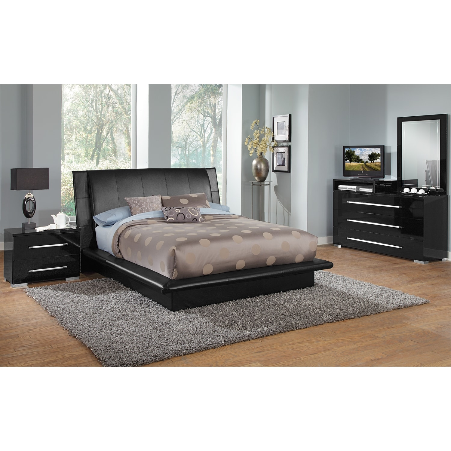 Bedroom Furniture - Dimora 6-Piece King Upholstered Bedroom Set with Media Dresser - Black