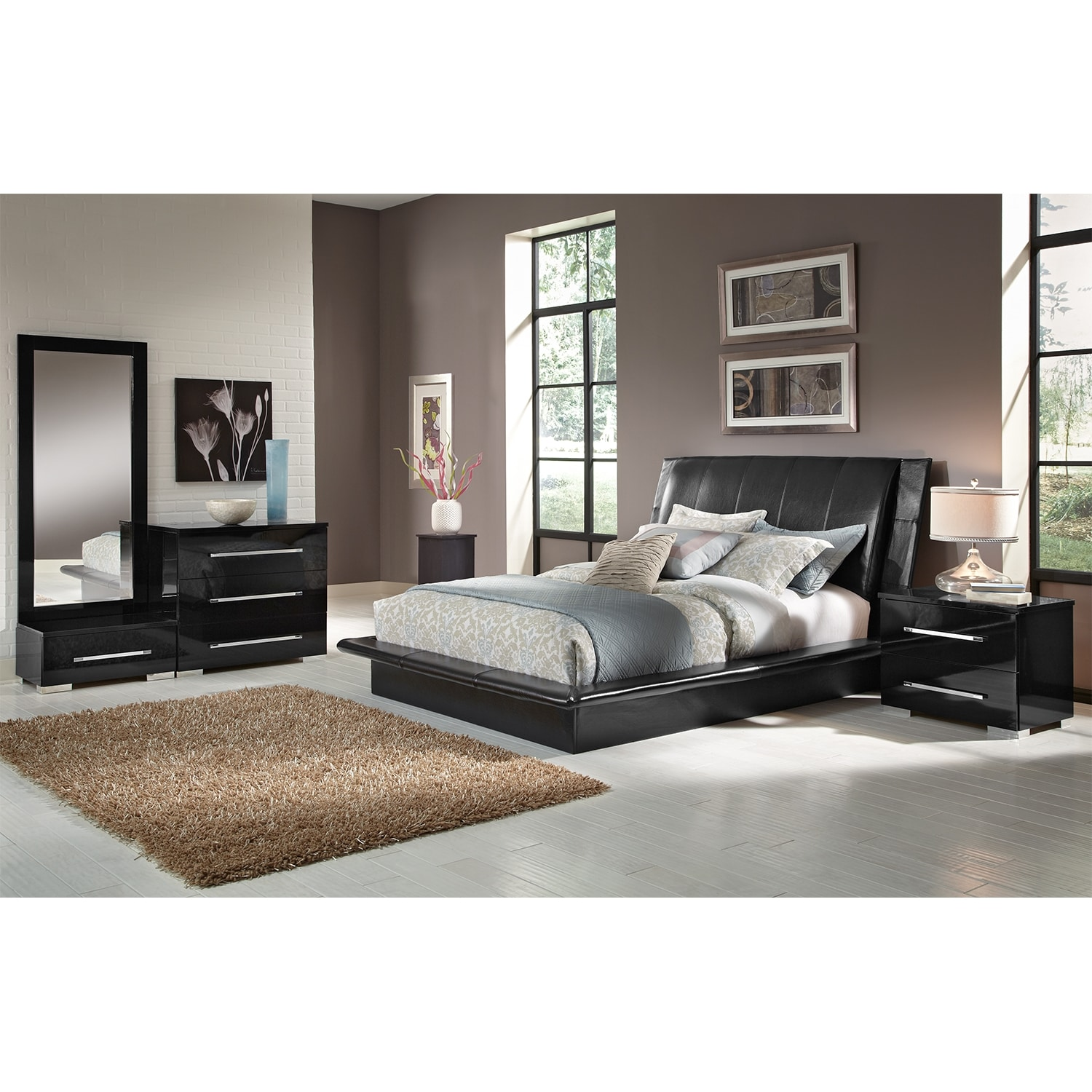 Bedroom Furniture - Dimora 6-Piece Queen Upholstered Bedroom Set - Black