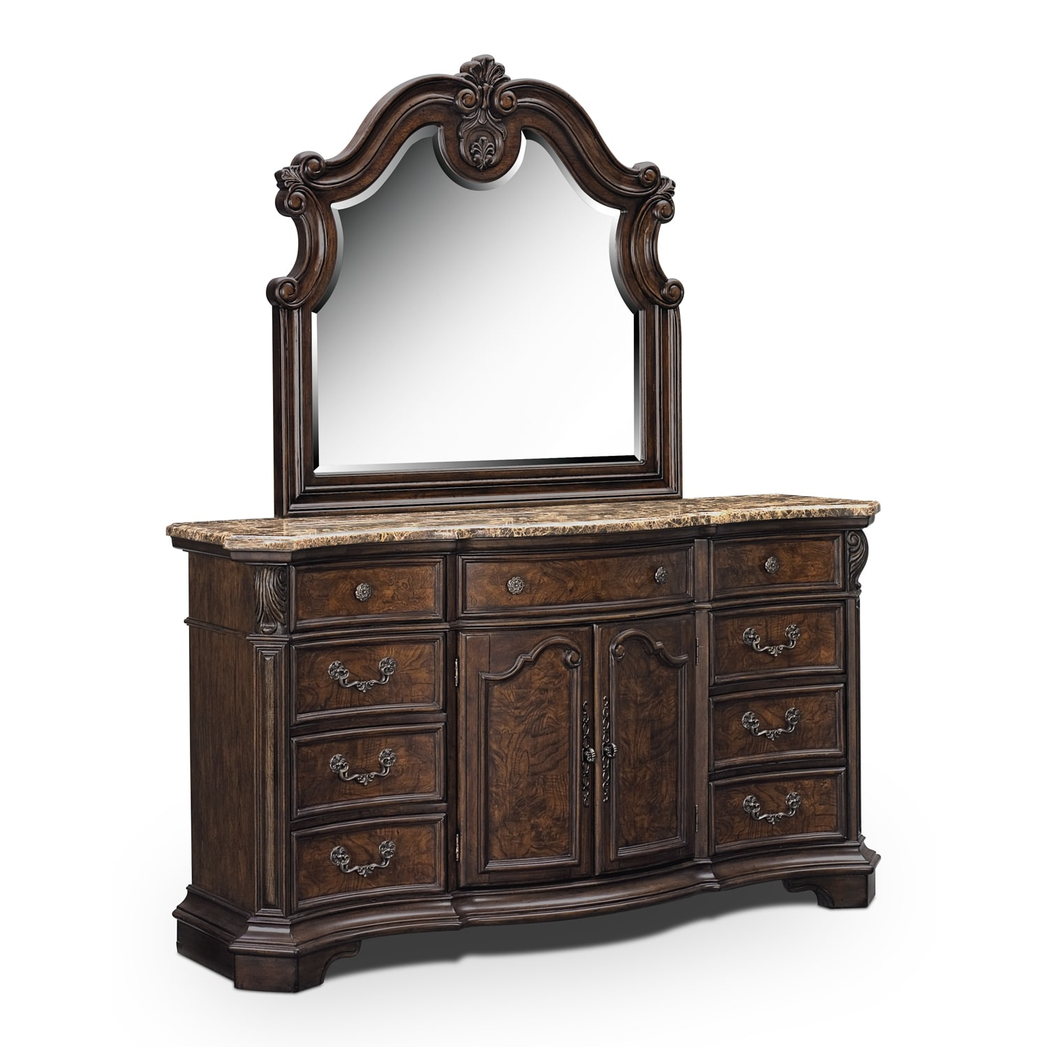 Bedroom Furniture - Monticello Dresser and Mirror - Pecan