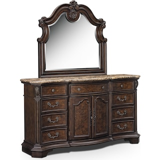 Monticello Dresser and Mirror - Pecan