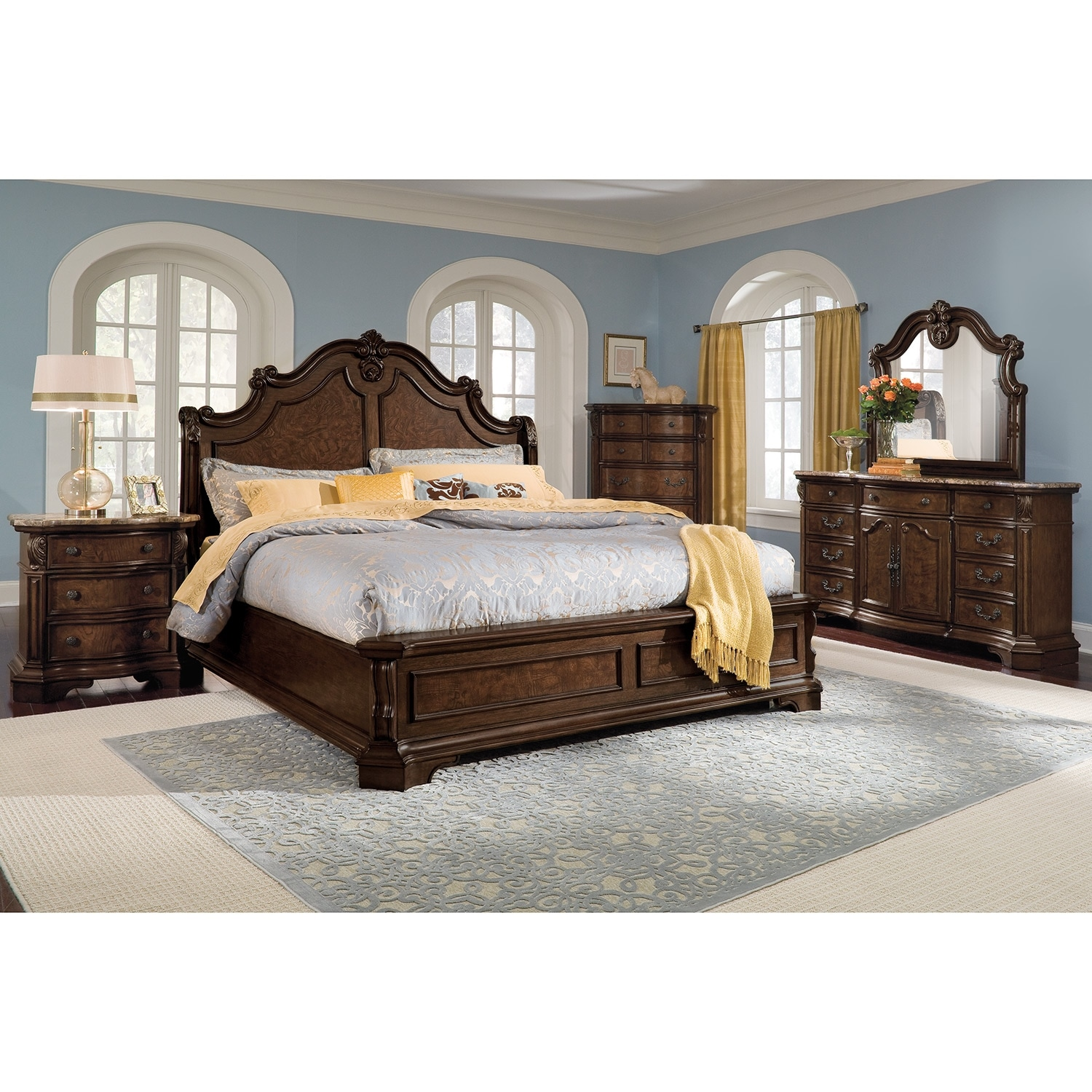 monticello dresser and mirror pecan value city furniture 17687 | 293417