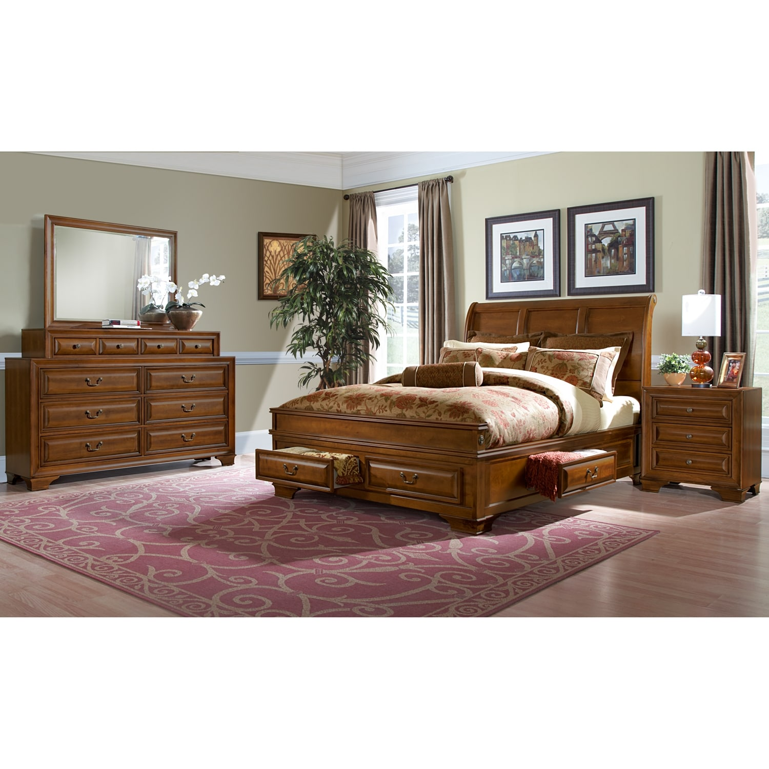 Bedroom Furniture - Sanibelle 6-Piece Queen Storage Bedroom - Pine