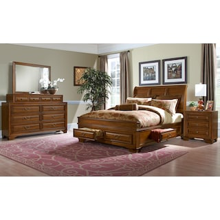 Sanibelle 6-Piece King Storage Bedroom Set - Pine