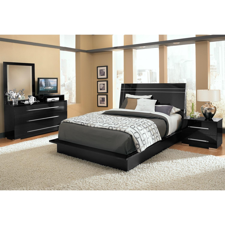Bedroom Furniture - Dimora 6-Piece Queen Panel Bedroom Set with Media Dresser - Black