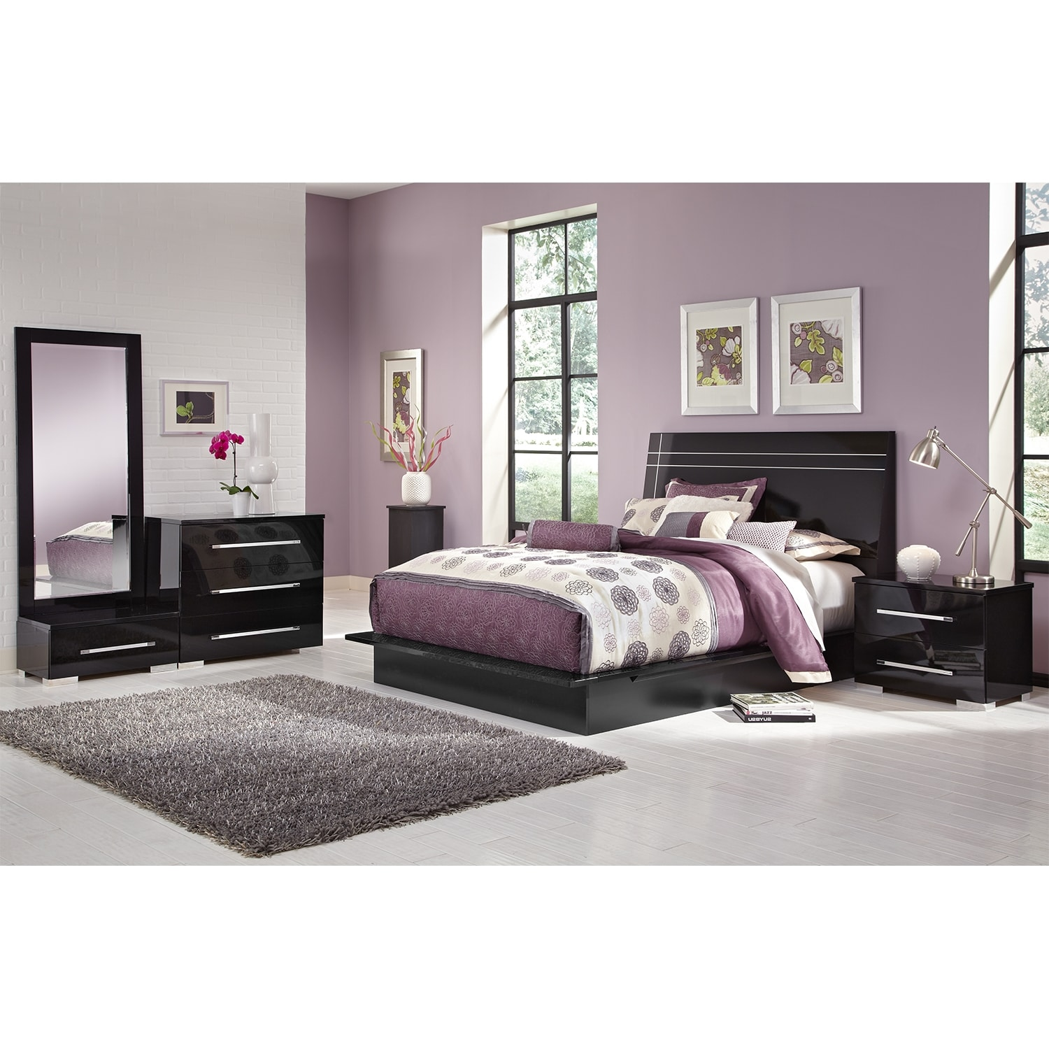 Furniture Com: Dimora 6-Piece King Panel Bedroom Set - Black