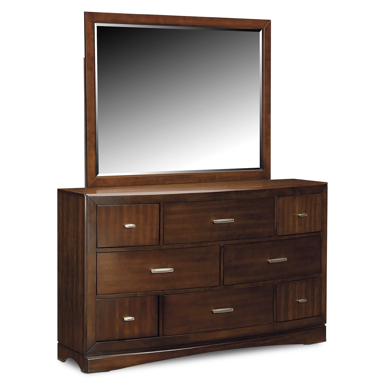 Bedroom Furniture - Toronto Dresser and Mirror - Pecan