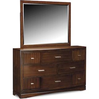 Toronto Dresser and Mirror - Pecan