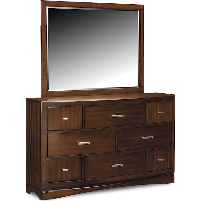 Bedroom Furniture - Toronto Dresser and Mirror - Pecan