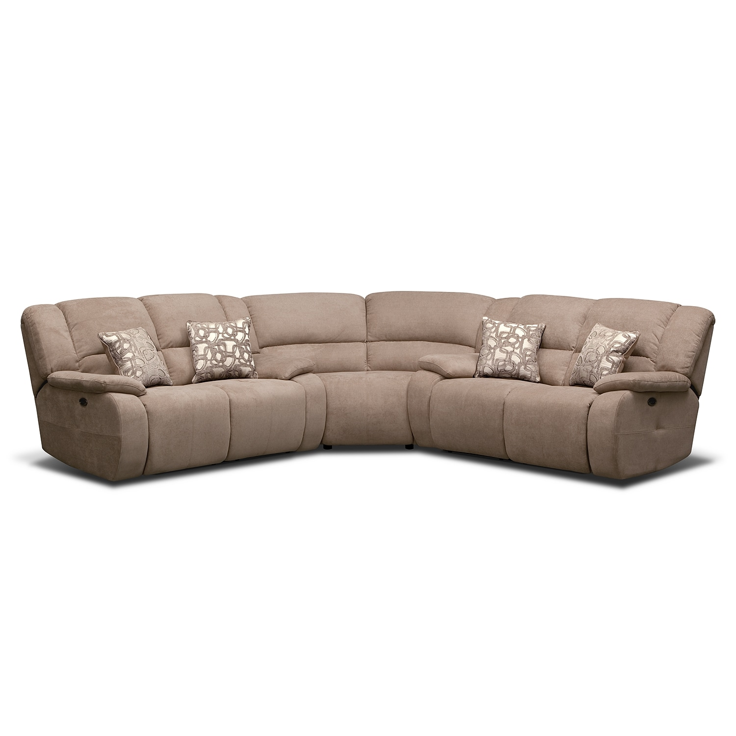 Living Room Furniture - Destin Beige II 3 Pc. Power Reclining Sectional (Alternate II)