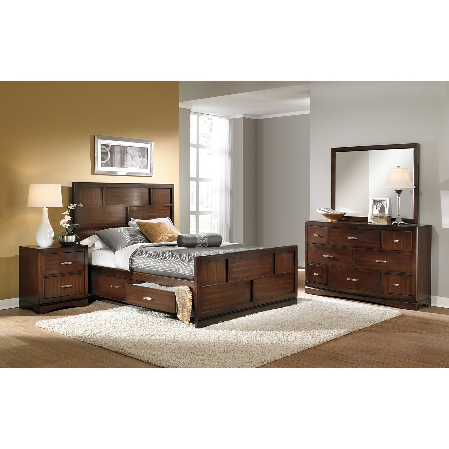 Bedroom Furniture - Toronto 6-Piece Queen Storage Bedroom Set - Pecan