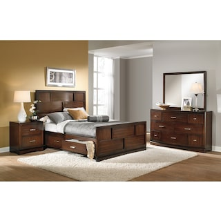 Toronto 6-Piece Storage Bedroom Set with Nightstand, Dresser and Mirror