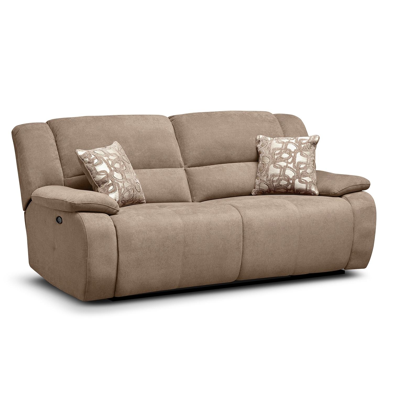 Living Room Furniture - Destin Beige Power Reclining Sofa