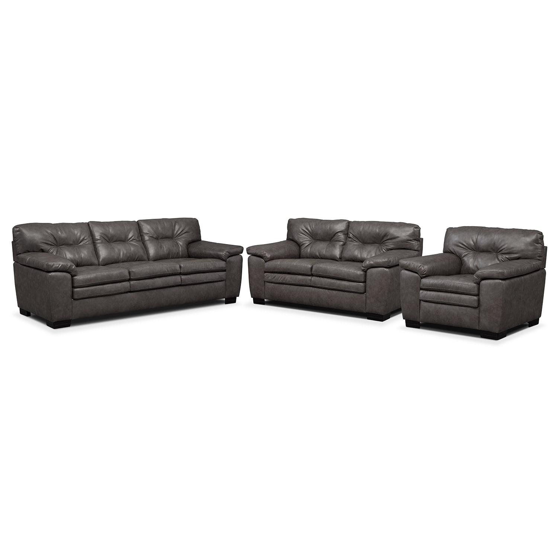 Legend Gray 3 Pc. Living Room