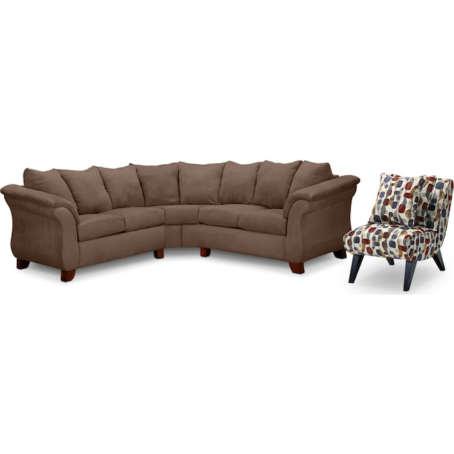 Living Room Furniture - Adrian 2-Piece Sectional and Accent Chair Set - Taupe