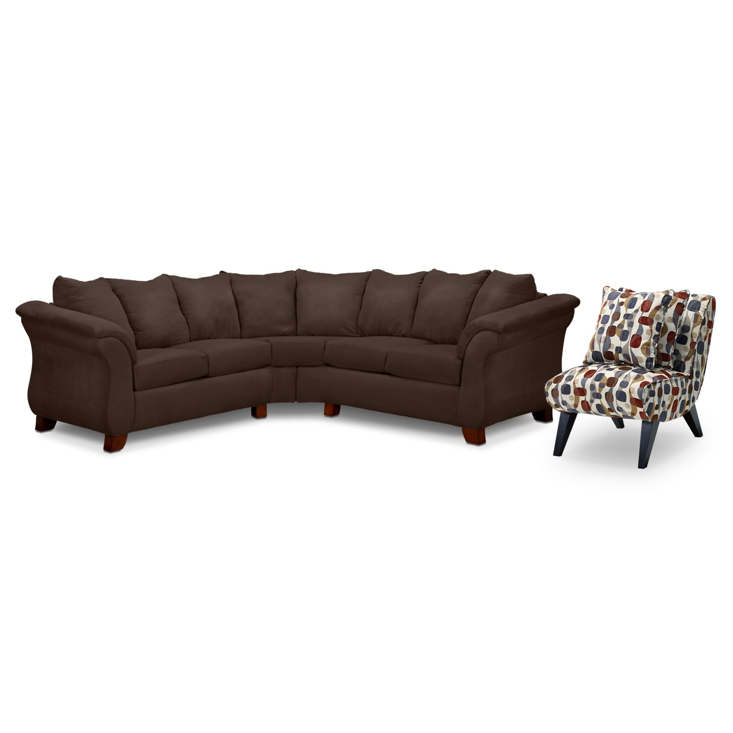 Living Room Furniture - Adrian Chocolate II 2 Pc. Sectional and Accent Chair