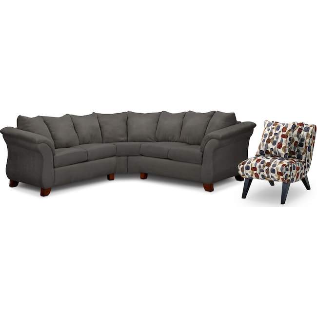 Living Room Furniture - Adrian 2-Piece Sectional and Accent Chair Set - Graphite