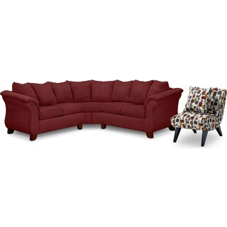 Adrian 2-Piece Sectional and Accent Chair Set - Red
