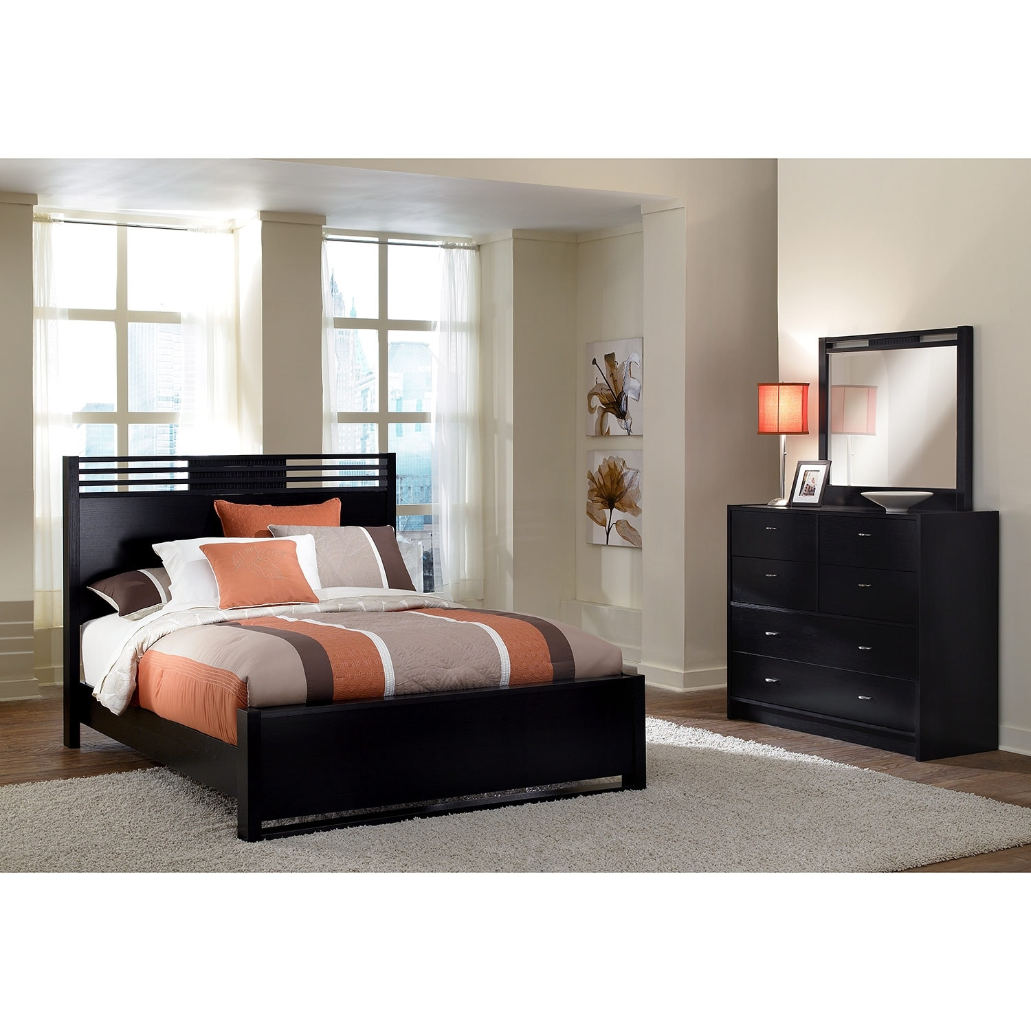 bally 5 piece queen bedroom set black value city furniture