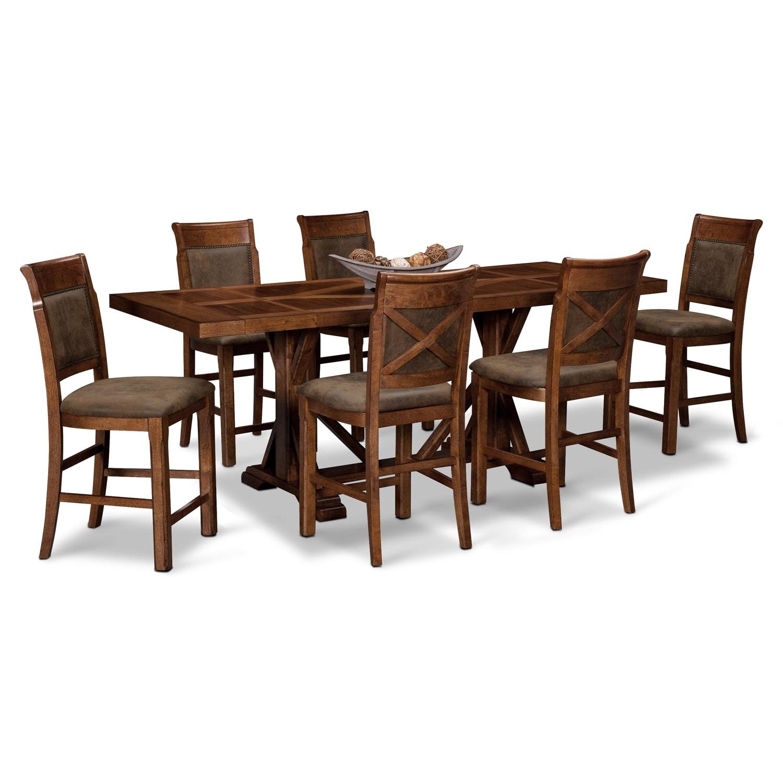 [Austin Walnut 7 Pc. Counter-Height Dining Room]