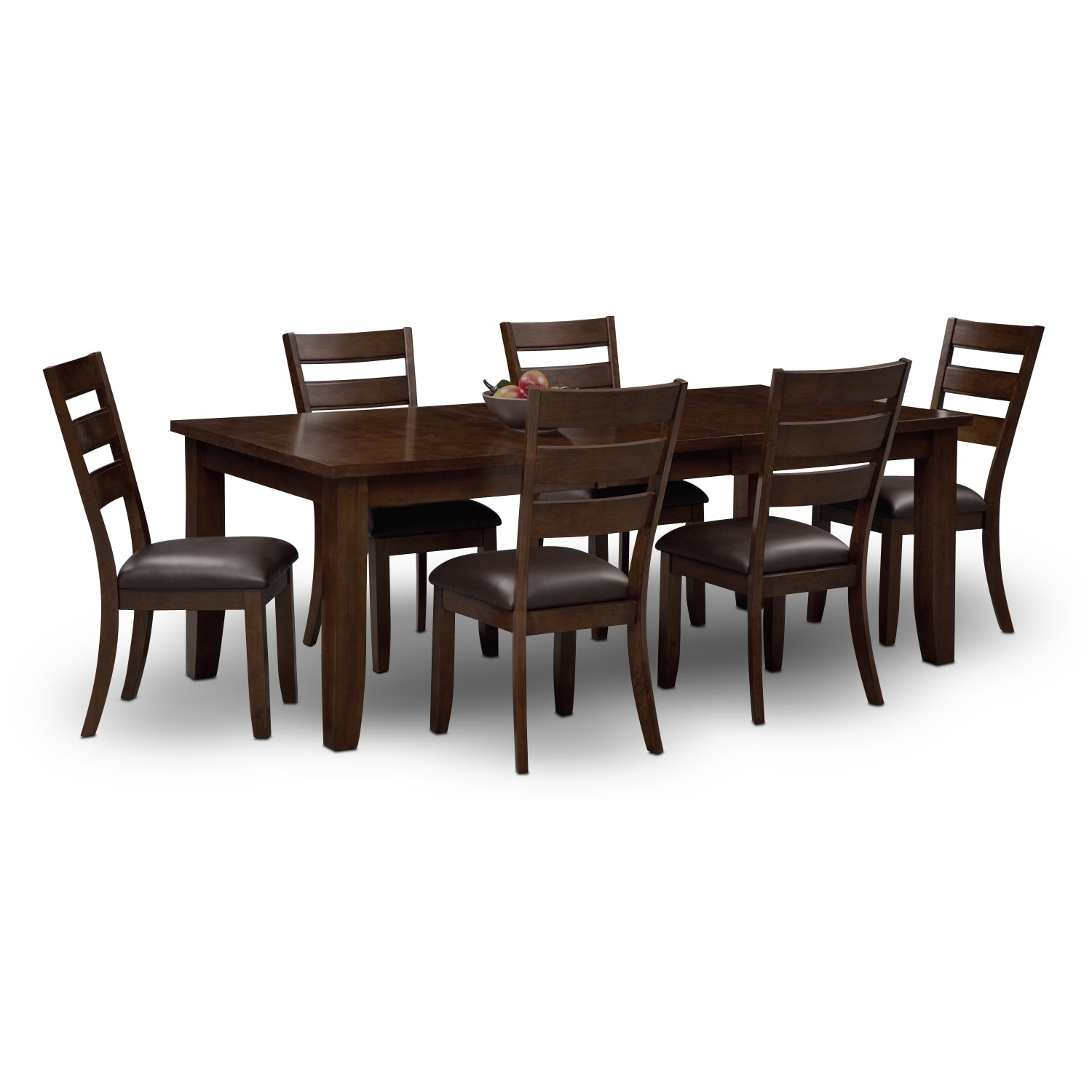 Rooms To Go Dining Room Set: Abaco Table And 6 Chairs - Brown