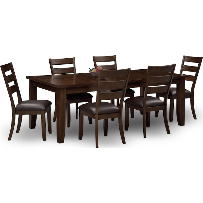Abaco Table And 6 Chairs - Brown | Value City Furniture