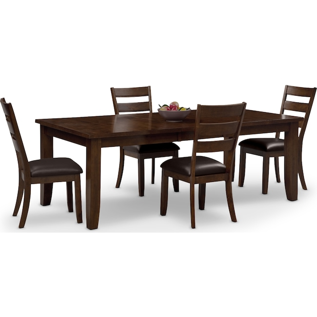 Abaco Table And 4 Chairs - Brown | Value City Furniture