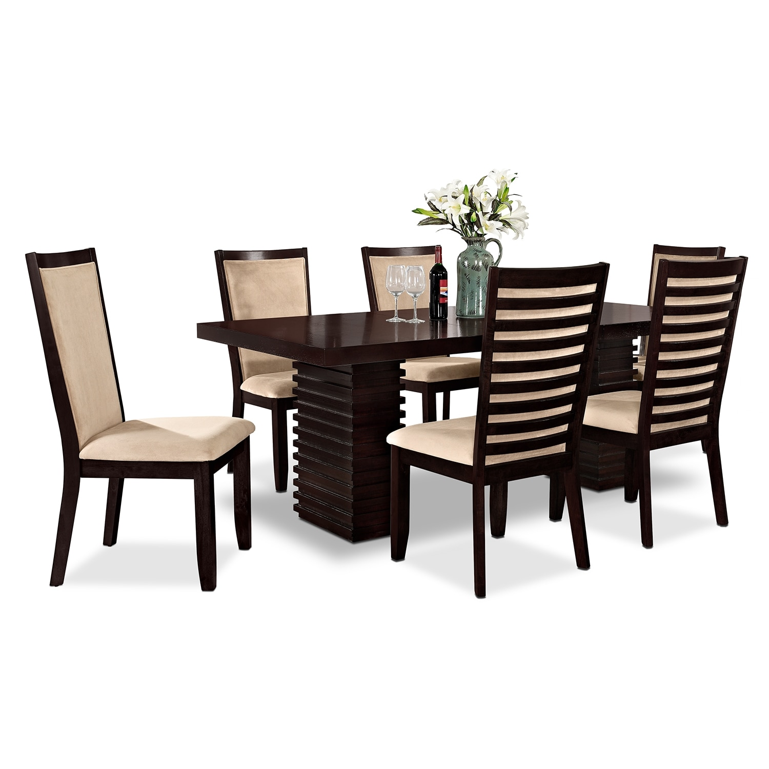 Paragon Table and 6 Chairs - Merlot and Camel