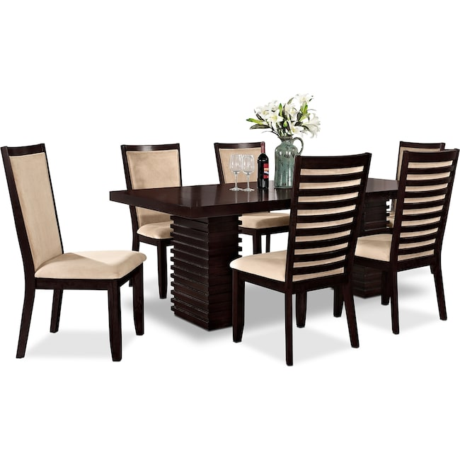Paragon Table And 6 Chairs - Merlot And Camel | Value City Furniture