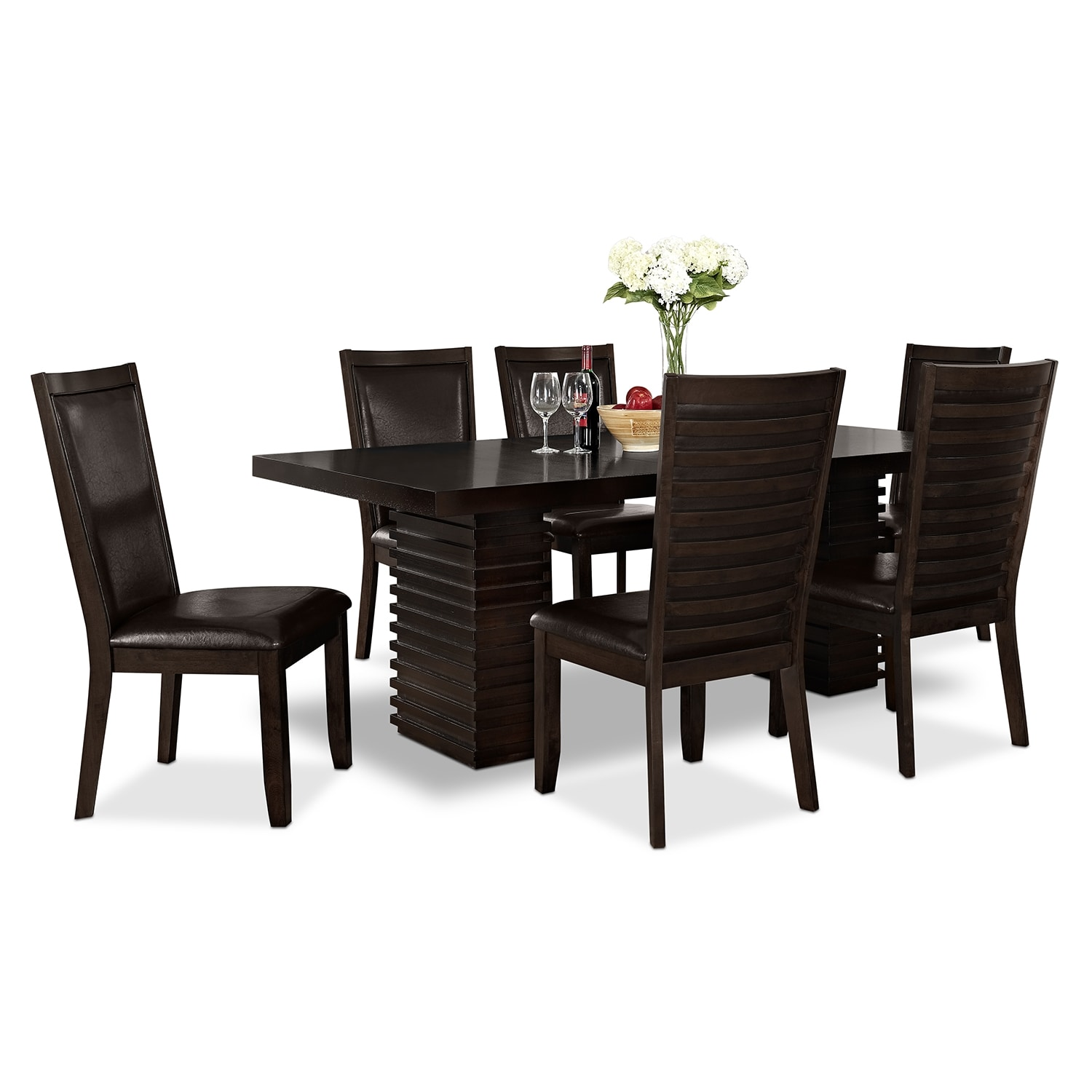 paragon table and 6 chairs merlot and brown - Dining Room Sets Value City Furniture
