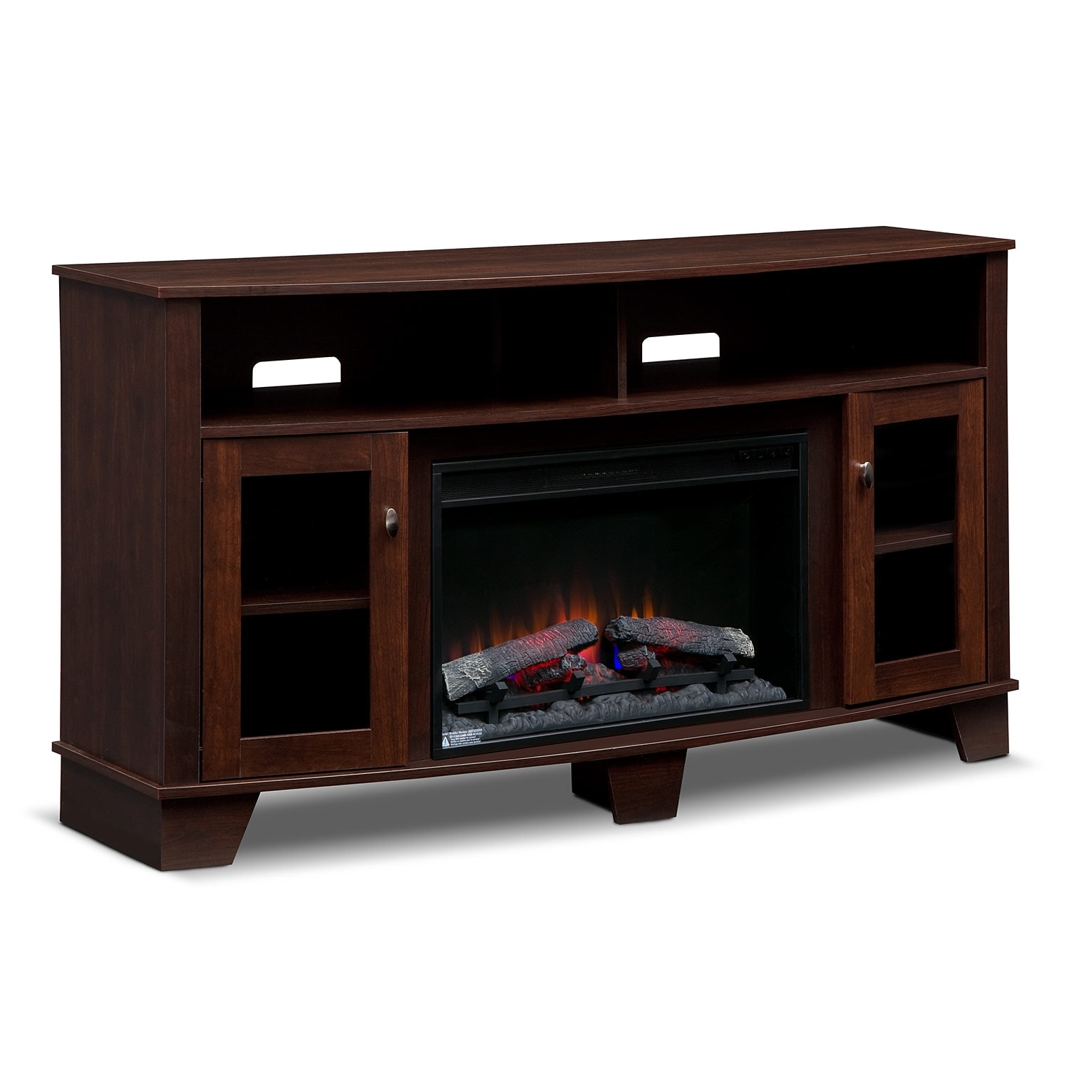 Entertainment Furniture - Bentwood Fireplace TV Stand with Traditional Insert - Dark Cherry