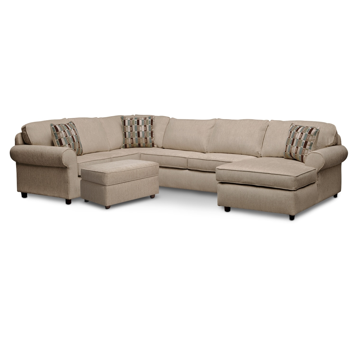Living Room Furniture - Monarch II 3 Pc. Sectional and Ottoman
