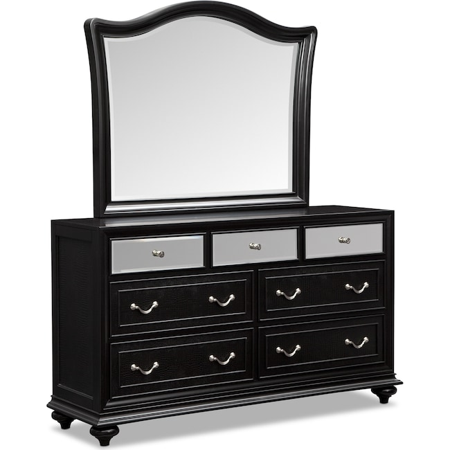 Bedroom Furniture - Marilyn Dresser and Mirror - Ebony
