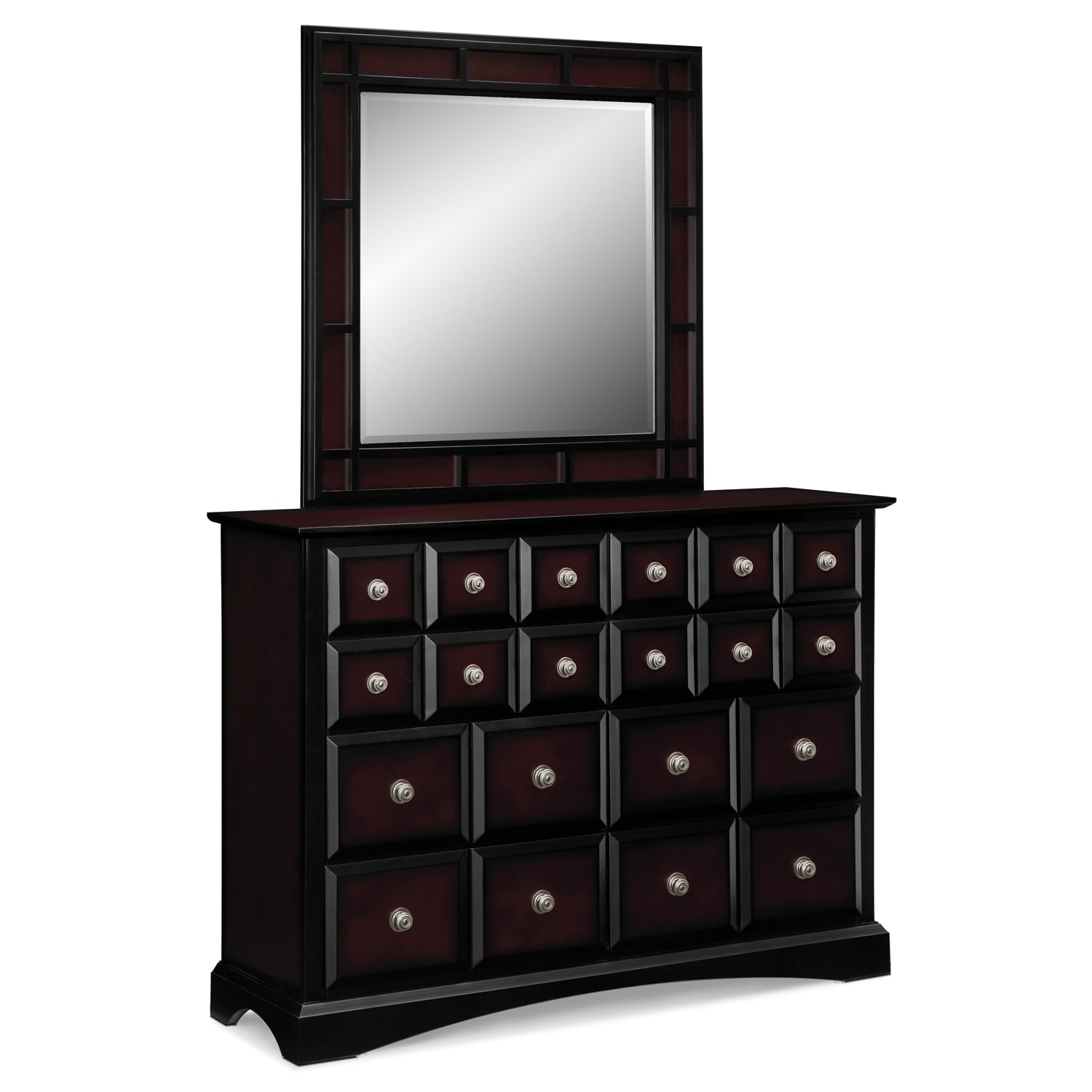 Winchester Dresser and Mirror - Black and Burnished Merlot
