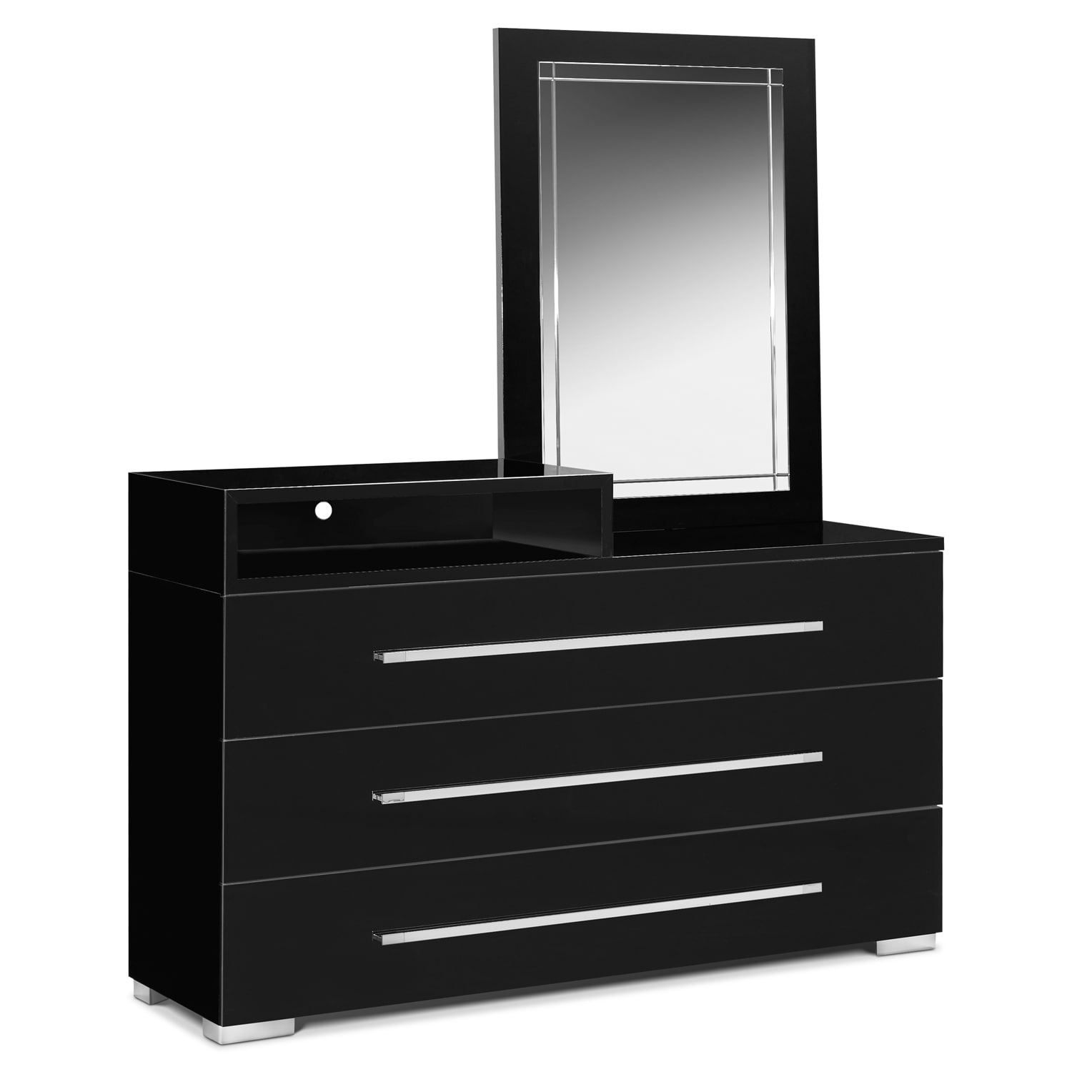 Dimora Dresser With Deck And Mirror   Black By Factory Outlet