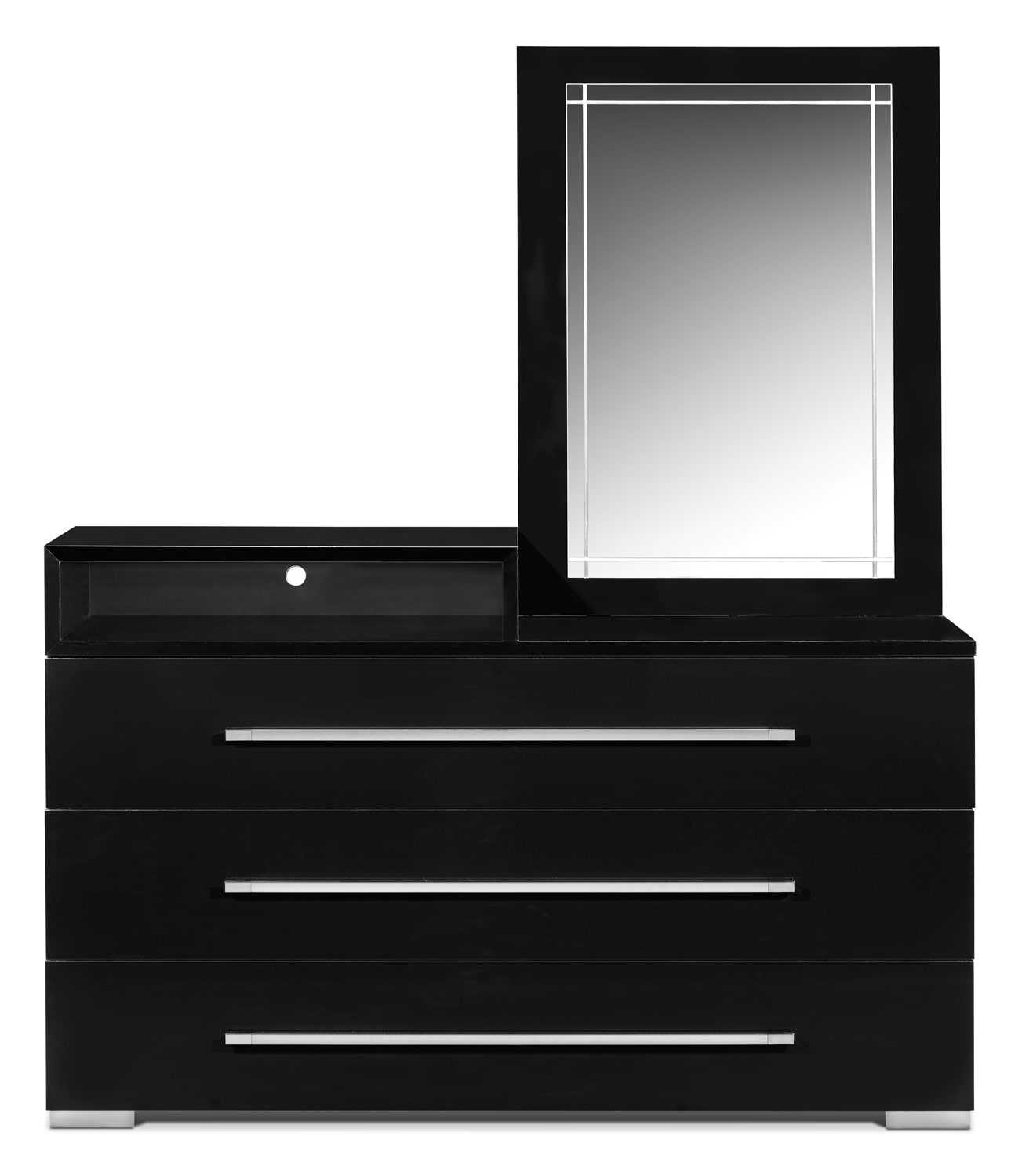 dimora dresser with deck and mirror  black  value city furniture - click to change image