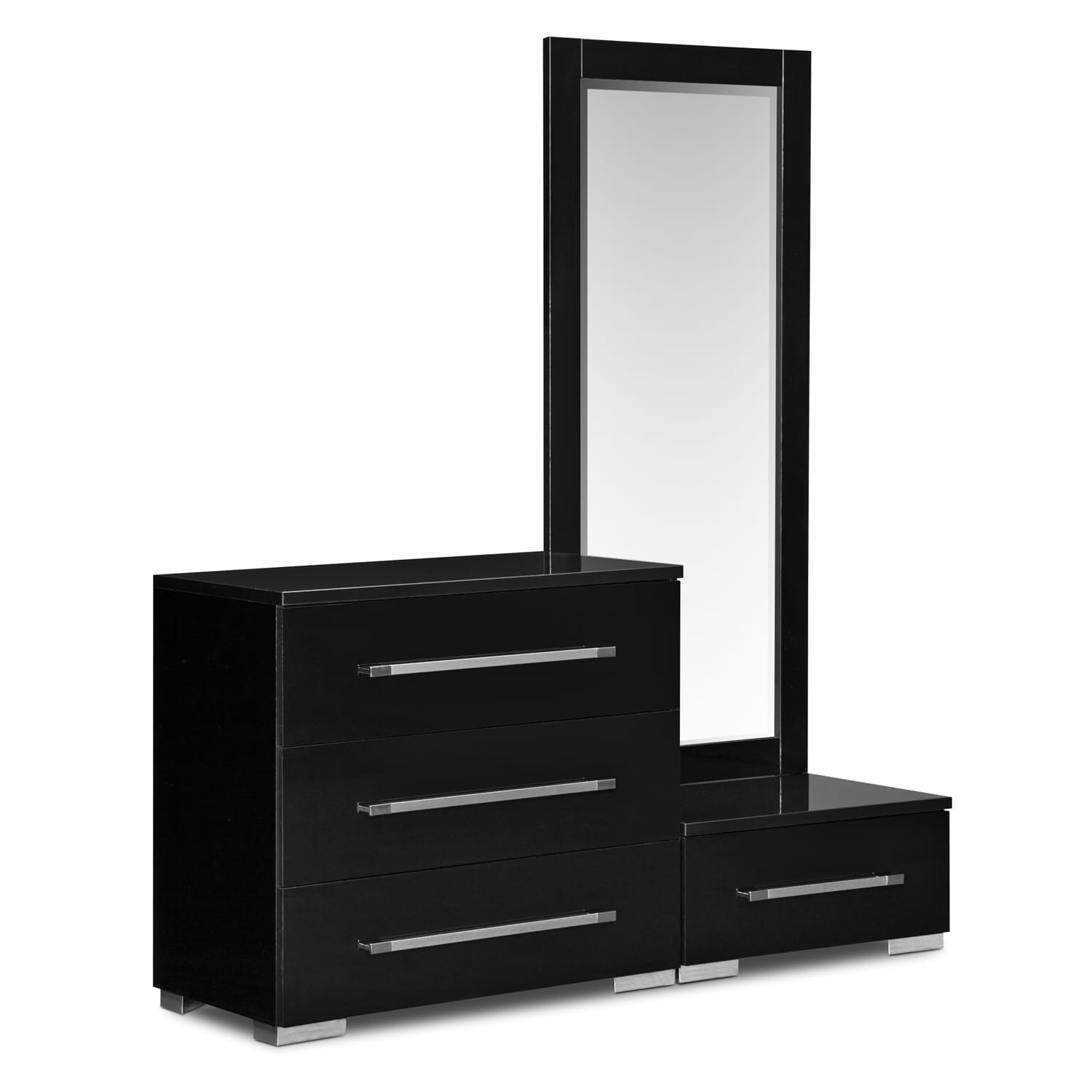 Exceptional Dimora Dressing Dresser And Mirror With Step   Black By Factory Outlet
