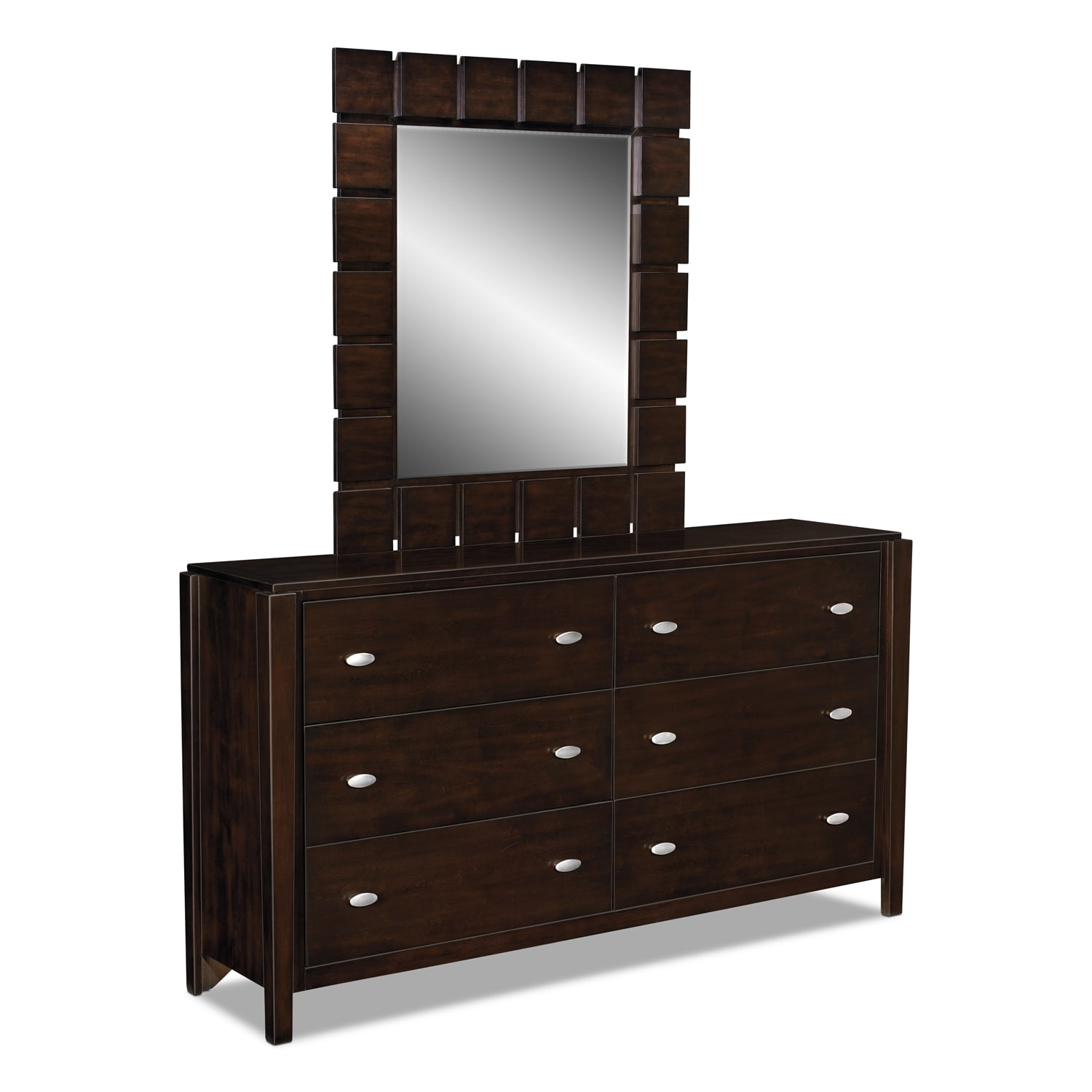 mosaic dresser and mirror  dark brown  value city furniture - hover to zoom
