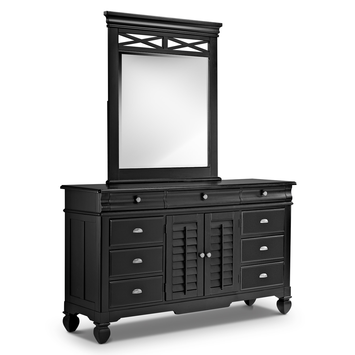 Bedroom Furniture - Plantation Cove Dresser and Mirror - Black