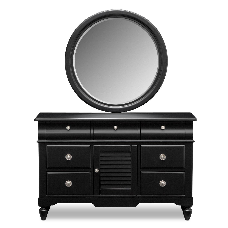 seaside dresser and mirror black value city furniture. Black Bedroom Furniture Sets. Home Design Ideas