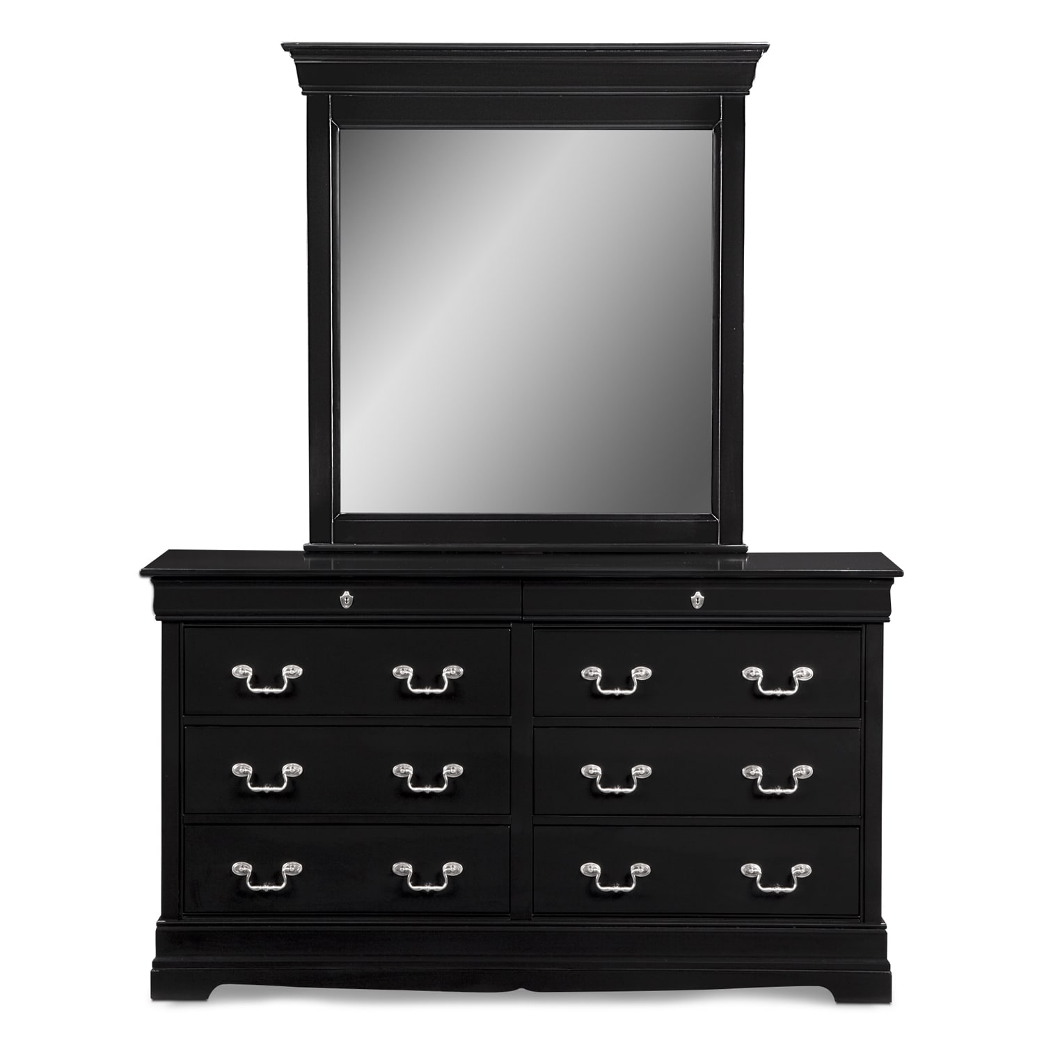 Neo Classic Dresser And Mirror Black Value City Furniture And Mattresses