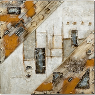 Metal Brown Mixed Media Painting