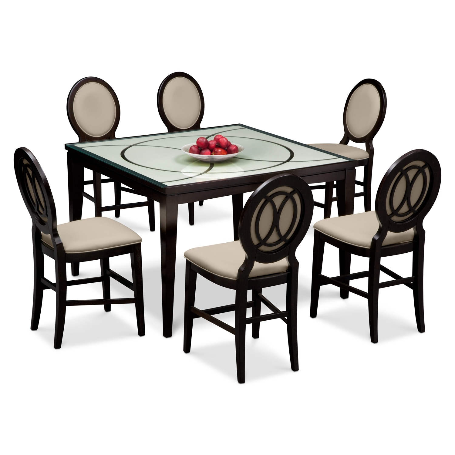 Cosmo Counter-Height Table and 6 Chairs - Merlot