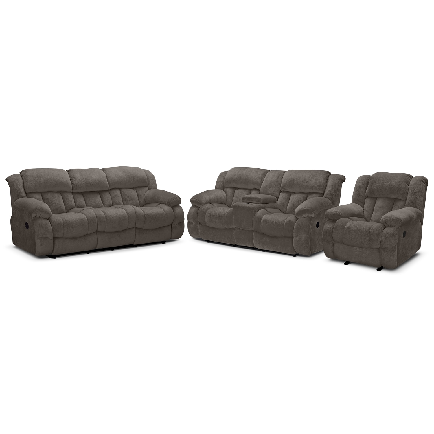 Park City Dual Reclining Sofa, Loveseat and Glider Recliner Set - Gray