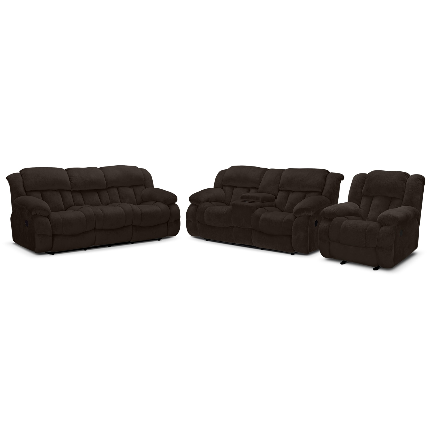 Park City Dual Reclining Sofa, Loveseat and Glider Recliner Set - Chocolate