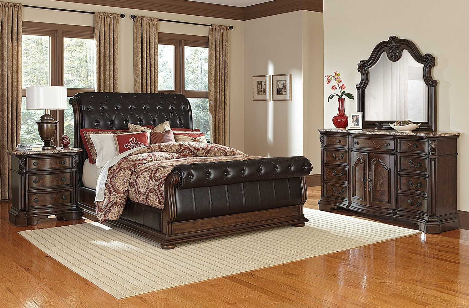 Bedroom Furniture - Monticello 6-Piece Upholstered Sleigh Bedroom Setwith Nightstand, Dresser and Mirror