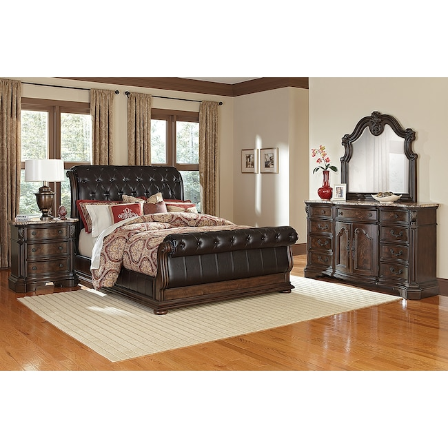 Bedroom Furniture - Monticello 6-Piece King Upholstered Sleigh Bedroom Set - Pecan