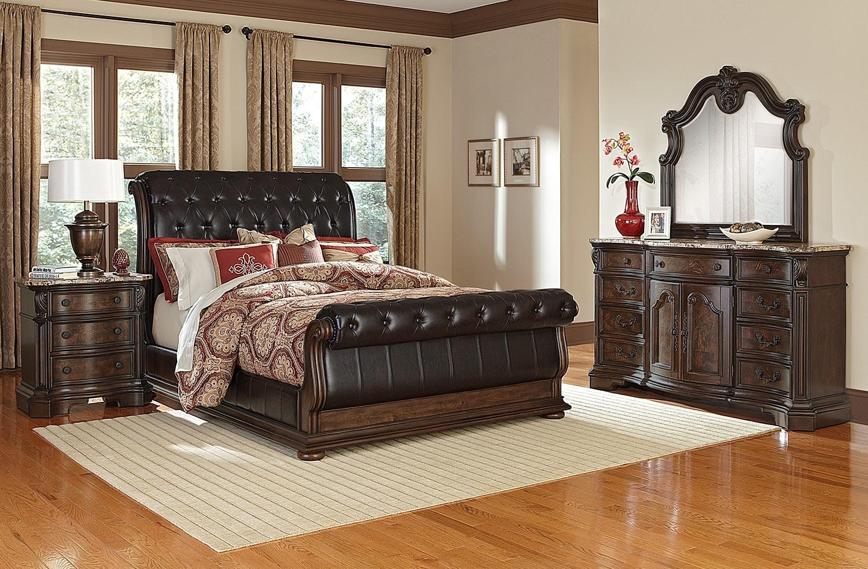 Monticello 6 Piece Queen Upholstered Sleigh Bedroom Set   Pecan