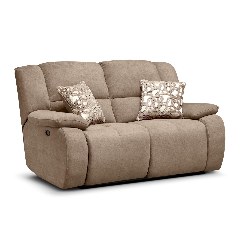 Living Room Furniture - Destin Beige Power Reclining Loveseat