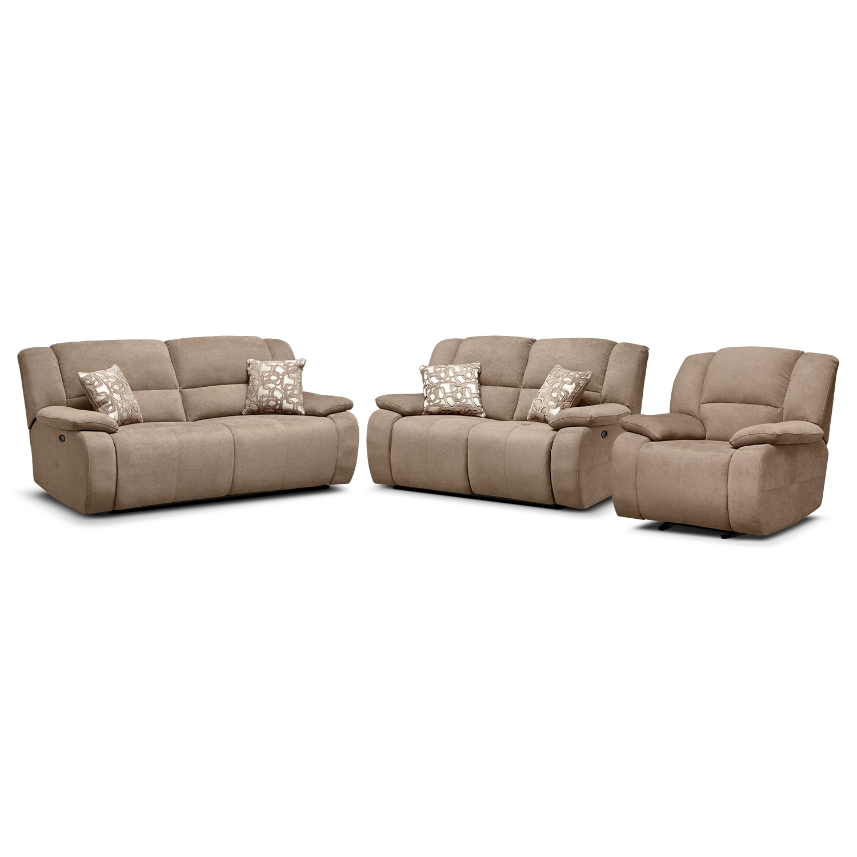 Living Room Furniture - Destin Beige 3 Pc. Power Reclining Living Room